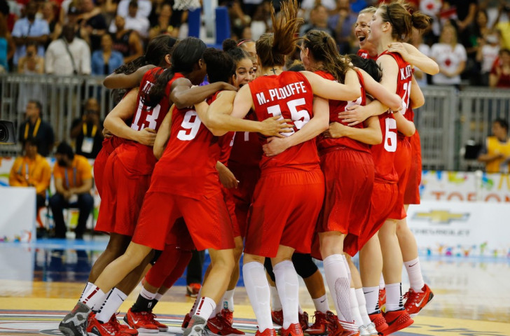 Canada celebrate their historic basketball victory over the US ©Getty Images