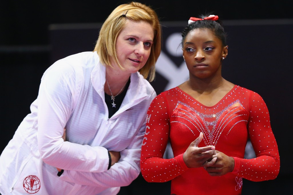 Aimee Boorman, left, was the Rio 2016 head coach for the US women's artistic gymnastics team ©Getty Images