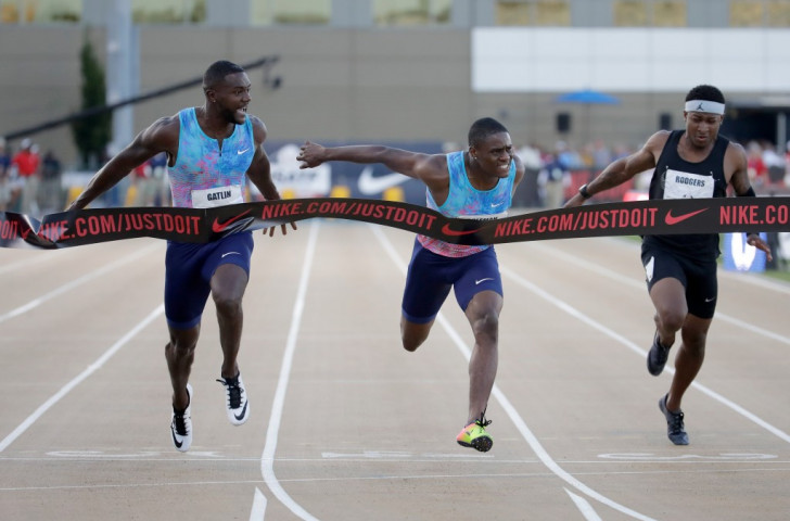 Justin Gatlin, left, beats 21-year-old Christian Coleman to the line in the 100m at the USATF World Championship Trials for London 2017, with Mike Rodgers, right, finishing sixth ©Getty Images