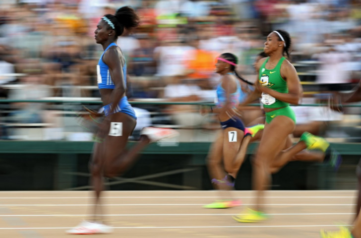 Olympic silver medallist Tori Bowie en route to winning the women's 100m title in 10.94 at the USATF World Championship Trials held at the Hornet Stadium in Sacramento ©Getty Images