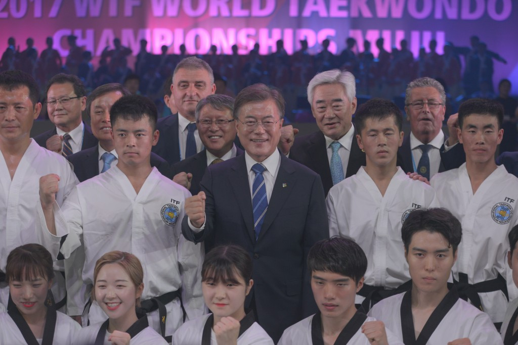 South Korean President Moon Jae-in spoke of his hopes for sportive and political reconciliation between his country and North Korea ©World Taekwondo