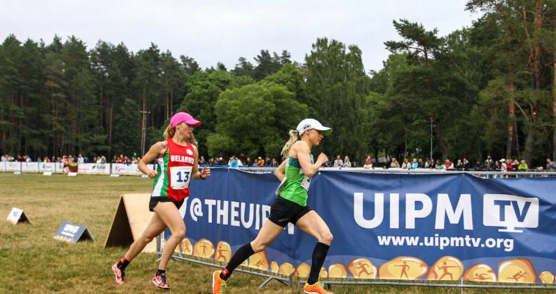 Laura Asadauskaite, right, battled to the silver medal in front of a home crowd ©UIPM
