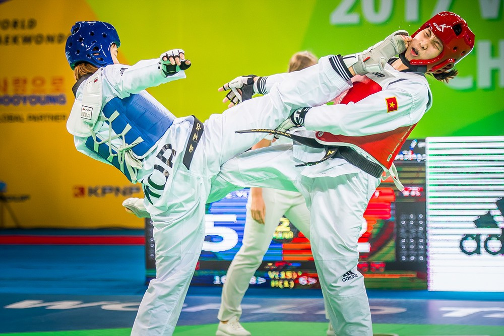 South Korea's Sim Jae-Young overcame Vietnam's Thi Kim Tuyen Truong in the women's 46kg final ©World Taekwondo