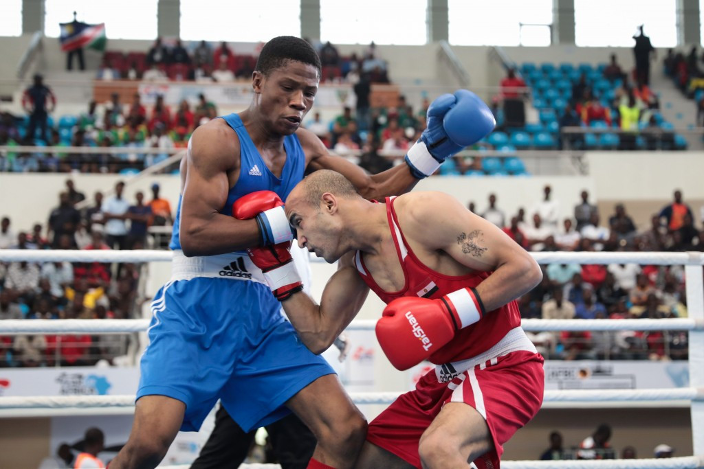 Namibia's Jonas Junias won the men's welterweight title ©Getty Images
