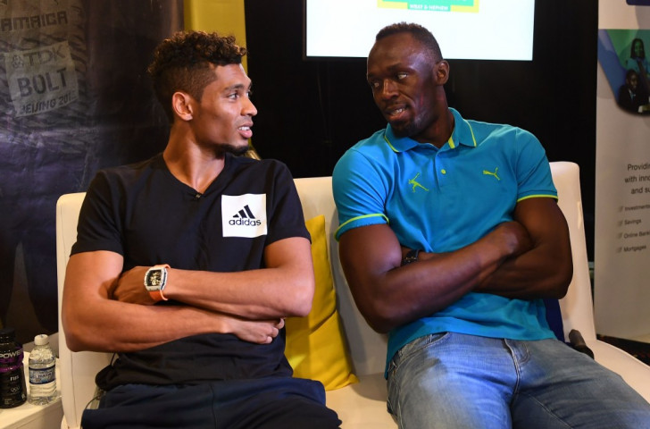 Top men, present, past, future? Wayde Van Niekerk and Usain Bolt chat at a press conference in Ostrava ©Getty Images