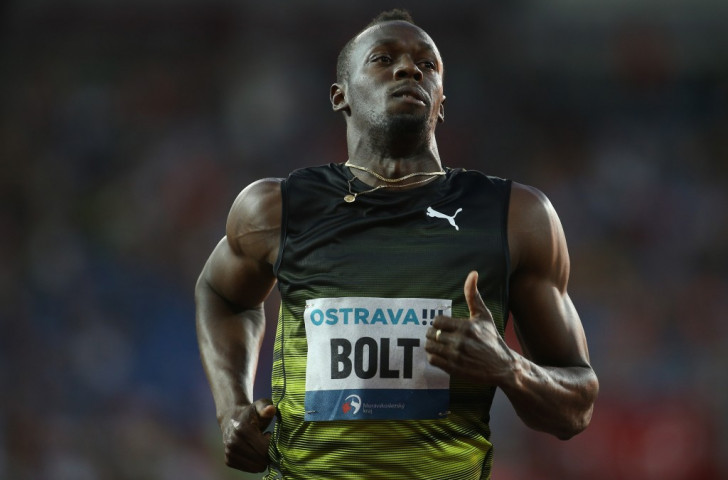 Despite winning his 100m in Ostrava in 10.06, Usain Bolt was a relatively subdued figure, feeling his hamstrings and turning down the option of doing a farewell lap of honour ©Getty Images