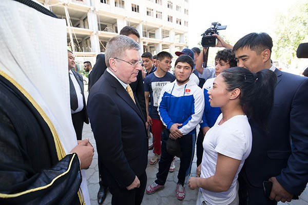 IOC President Thomas Bach, pictured visiting Kyrgyzstan this year, believes the IOC must be politically neutral  in order to best represent the entrie world ©Getty Images