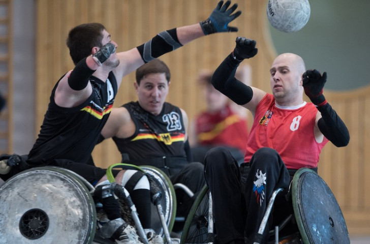 Germany, pictured in an earlier round, beat Ireland 58-38 to go through to the fifth and sixth place match in the IWRF European Championships against Poland ©IWRF