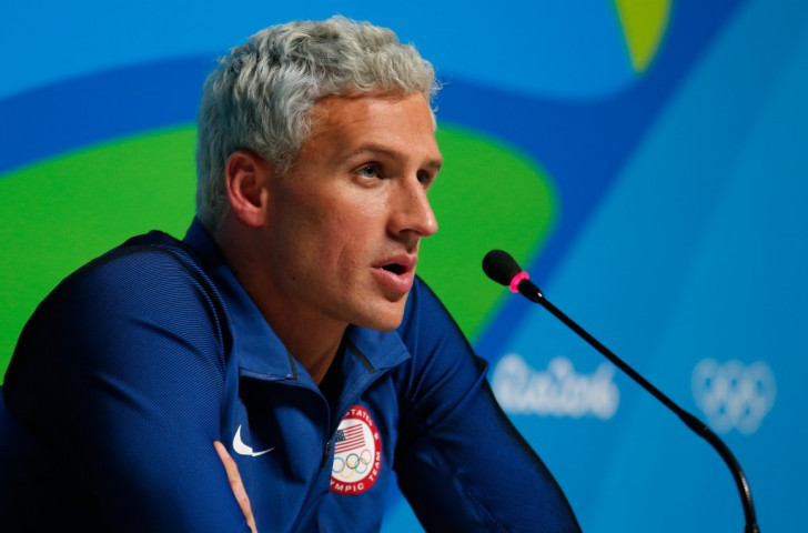 Before it all went pear-shaped. Ryan Lochte at a post-race press conference in Rio ©Getty Images