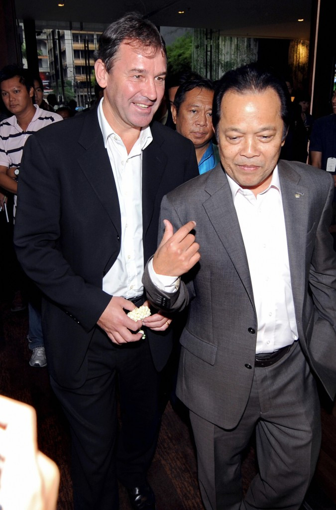 Worawi Makudi, pictured with former England and Manchester United captain Bryan Robson, survived several scandals during the 18 years he sat on FIFA's Executive Committee