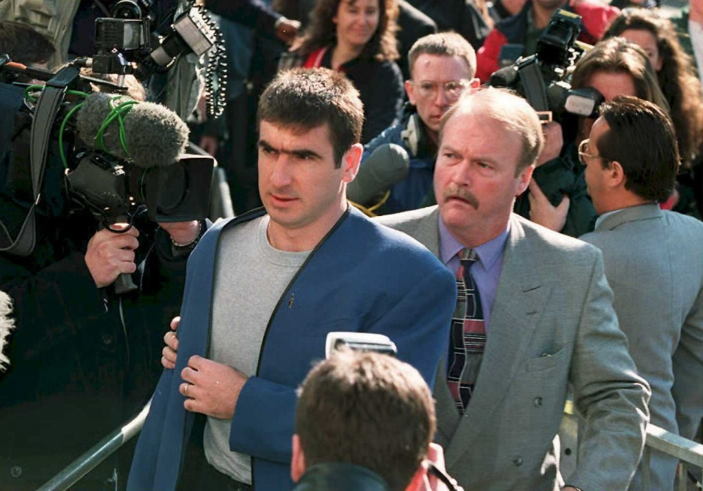 Eric Cantona arrives at East Croydon Magistrates' Court to face charges of assault following his infamous