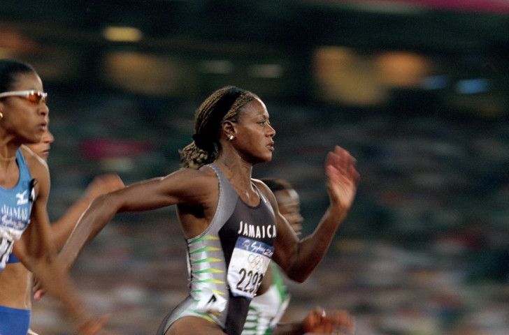 Merlene Ottey running for Jamaica at the 2000 Sydney Olympics aged 40. But  home criticism of her selection after she fialed to finish in the top three at the national trials prompted her to seek a transfer to Slovenia ©Getty Images