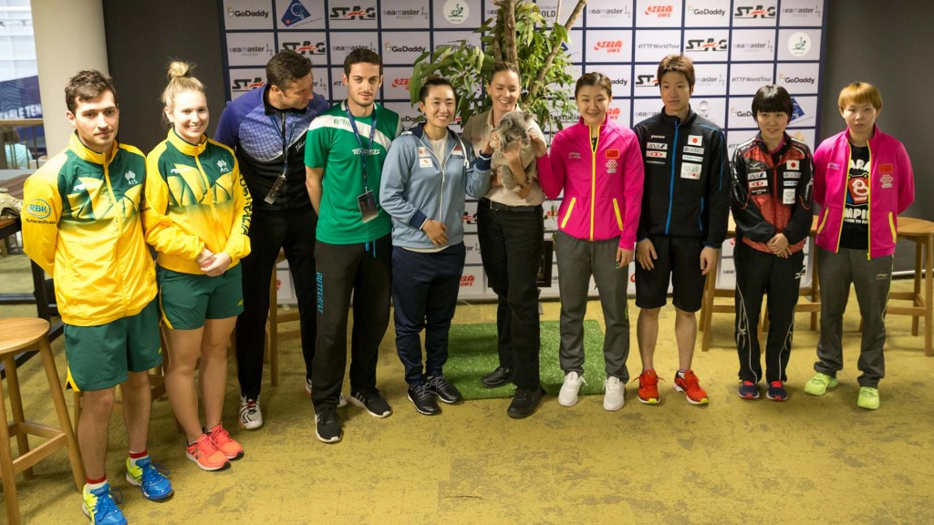 The ITTF Platinum Australian Open starts tomorrow and the players were given a cuddly welcome by Diane the koala bear ©ITTF