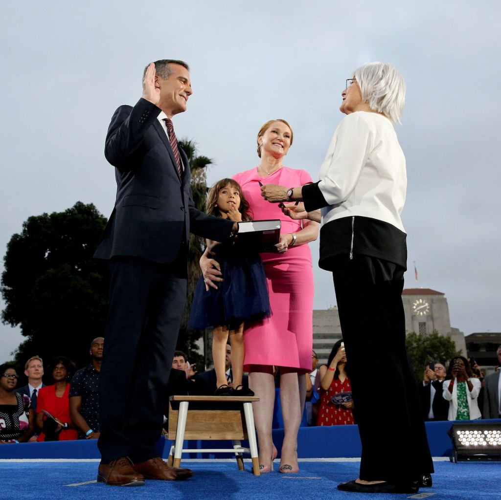Los Angeles Mayor highlights potential Olympic legacy during inauguration speech