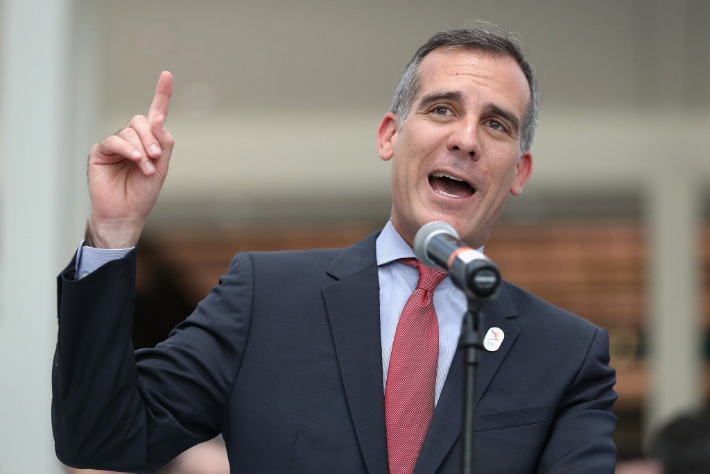 Los Angeles Mayor Eric Garcetti has speculated that the city could demand youth sports funding from the IOC ©Getty Images