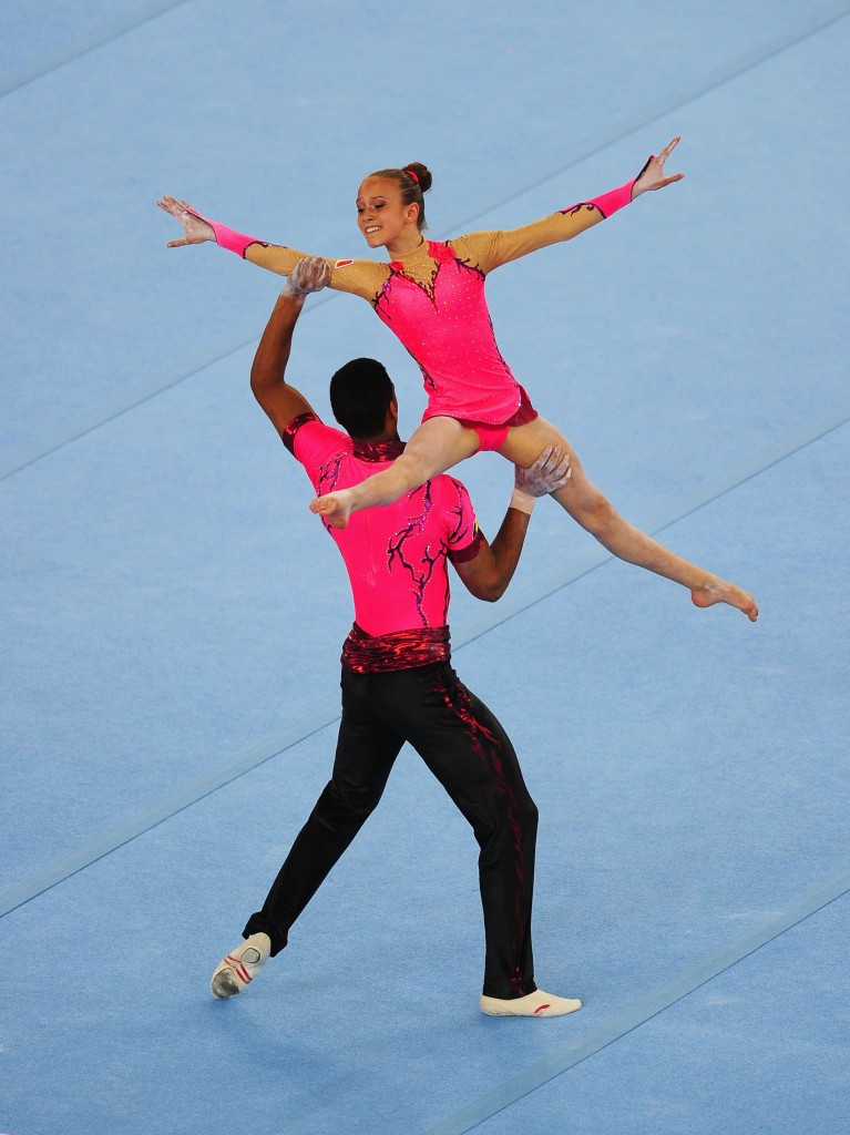 Acrobatic gymnasts in action at the inaugural 2015 European Games in Baku ©Getty Images