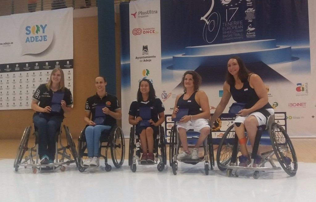 Mariska Beijer, second right, was named in the all-star team at the European Wheelchair Basketball Championships ©IWBF