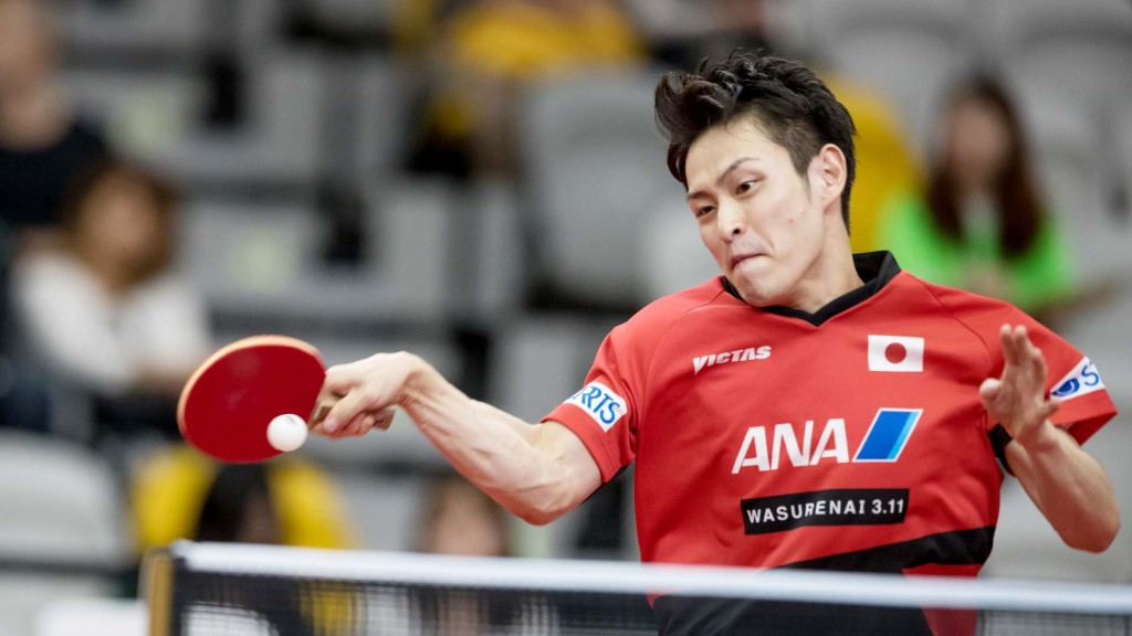 Japan's Yuya Oshima caused the biggest upset of the day at the ITTF Australian Open, beating fifth seed Marcos Freitas of Portugal in straight games ©ITTF/APAC Sport Media