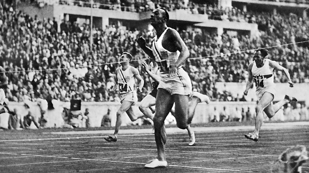 America's Jesse Owens produced one of the most famous performances in athletics history when he won four Olympic gold medals at Berlin 1936, including the 100m ©Hulton Archive/Getty Images