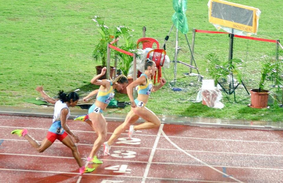 Kazakhstan enjoyed a one-two in the women's 100m ©Facebook/Asian Athletics Championships