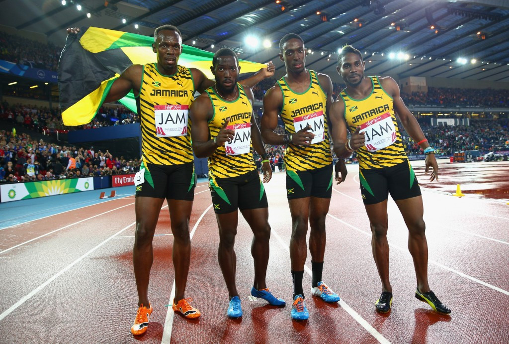 Jason Livermore, right, won 4x100m gold at Glasgow 2014 alongside Usain Bolt, left, Kemar Bailey-Cole, second from right, and Nickel Ashmeade, second from left ©Getty Images