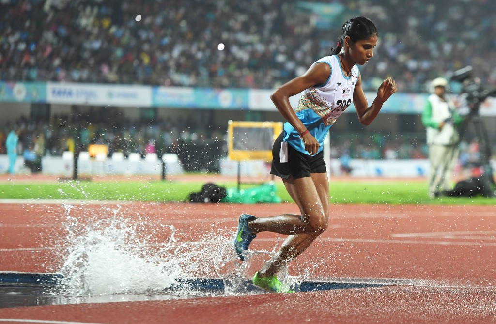 Sudha Singh delighted the home crowd by claiming gold in the women's 3,000m steeplechase ©Getty Images