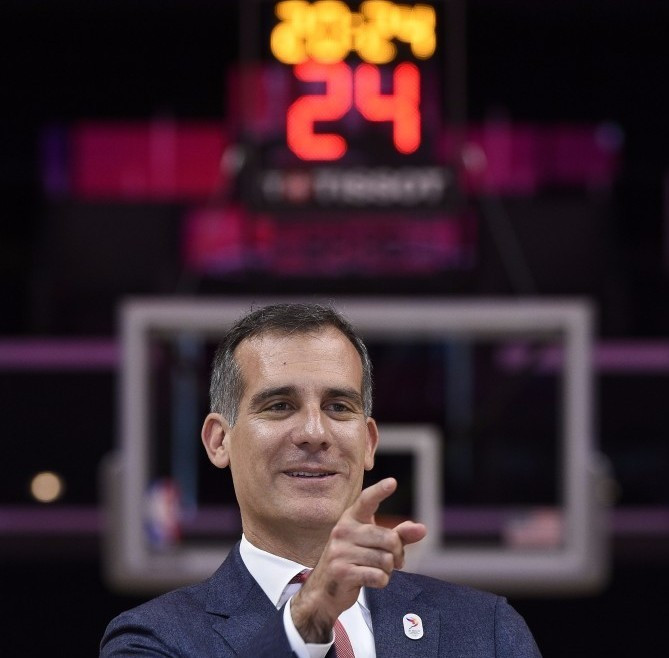 Eric Garcetti is leading the Los Angeles 2024 delegation ©Getty Images