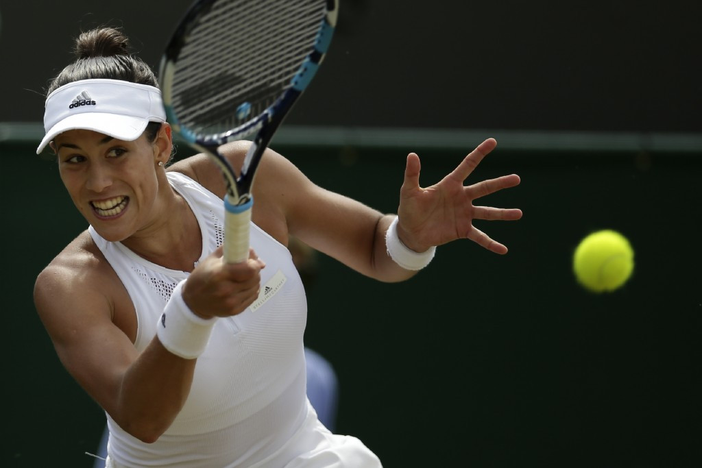 Spain's Garbine Muguruza eliminated top seed Angelique Kerber of Germany from the women's singles competition
