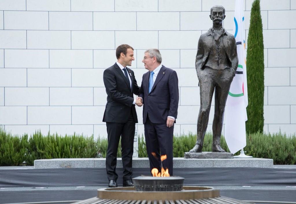 Emmanuel Macron, left, alongside IOC President Thomas Bach ©IOC/Twitter