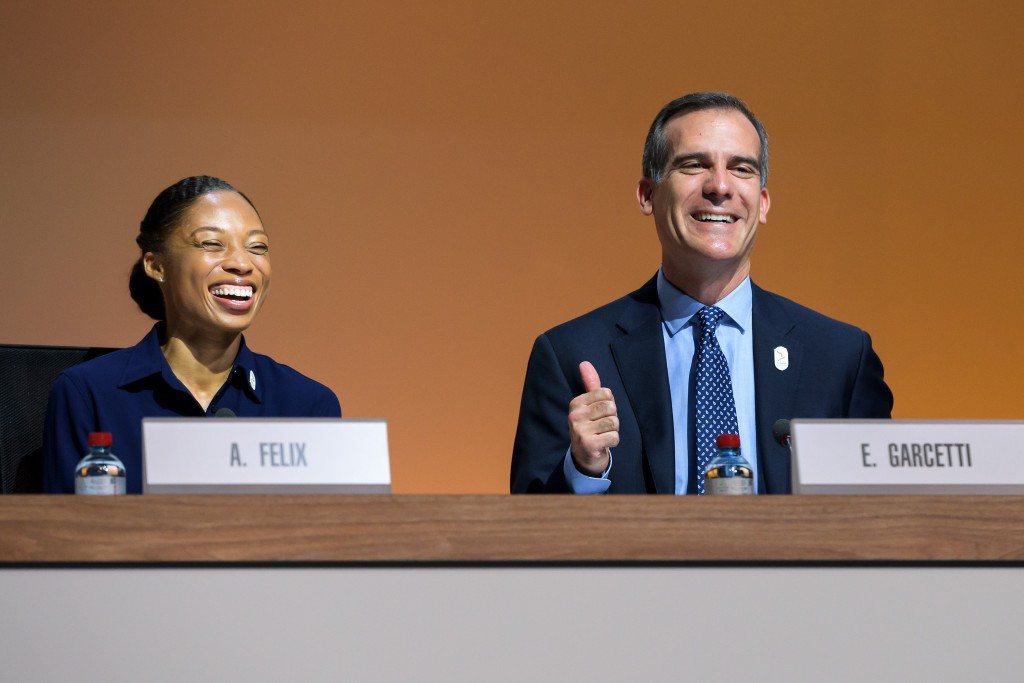 Eric Garcetti, right, and Allyson Felix were key speakers for Los Angeles ©Getty Images