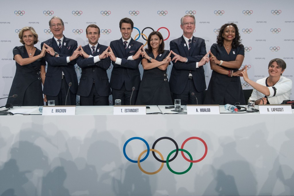 Paris 2024 bid leaders, including Emmanuel Macron, third from left, gave their presentation earlier today ©Getty Images