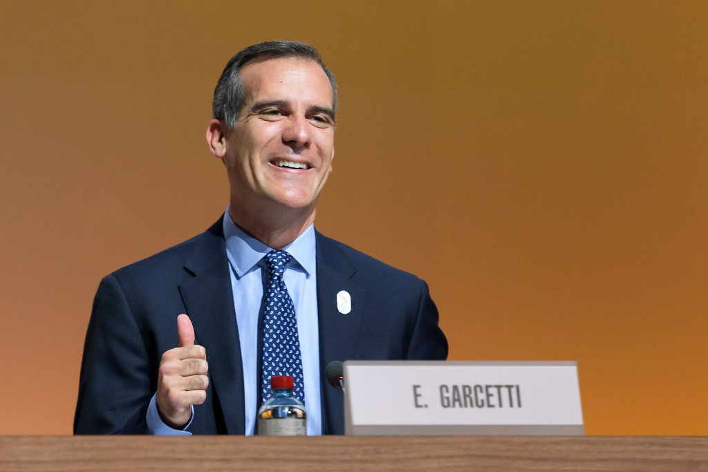 Eric Garcetti pictured during the Los Angeles 2024 bid presentation ©Getty Images