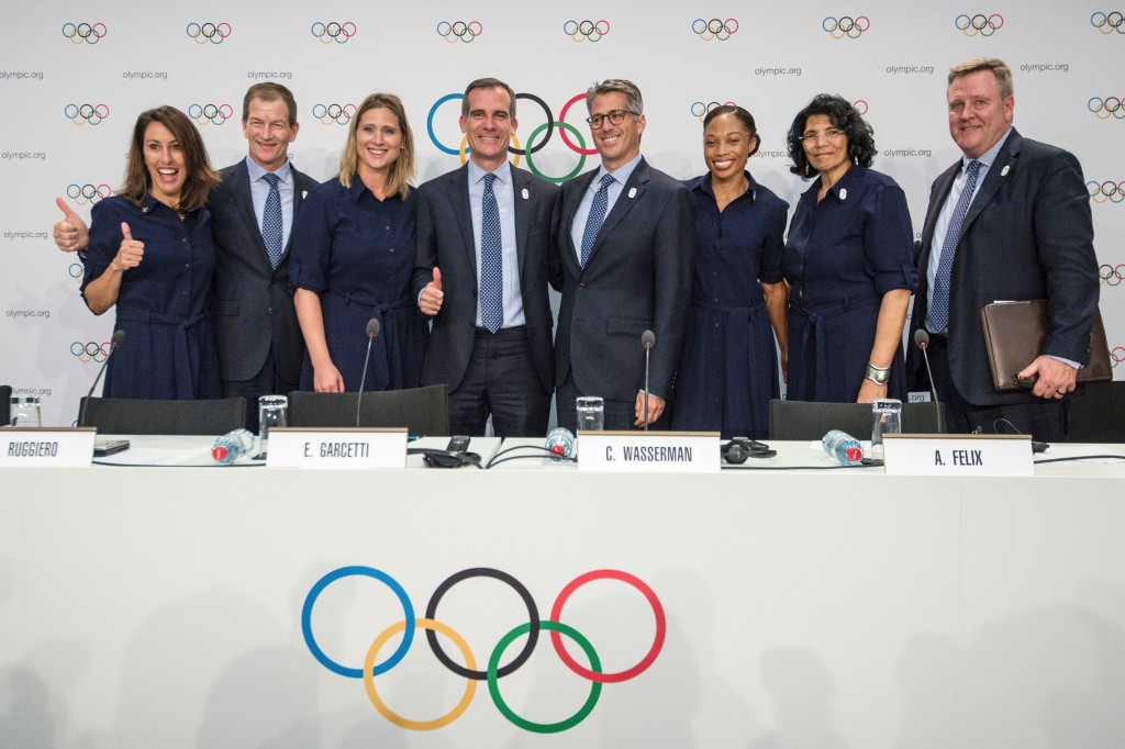Los Angeles' bid team pictured after their presentation ©Getty Images