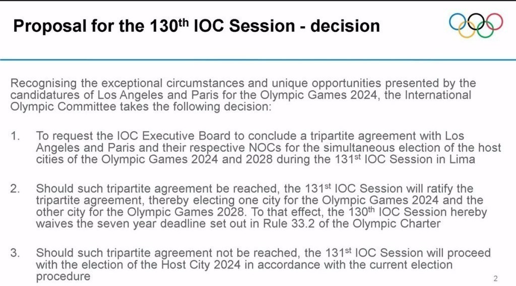 IOC proposals on the joint awarding of the 2024 and 2028 Olympics ©IOC