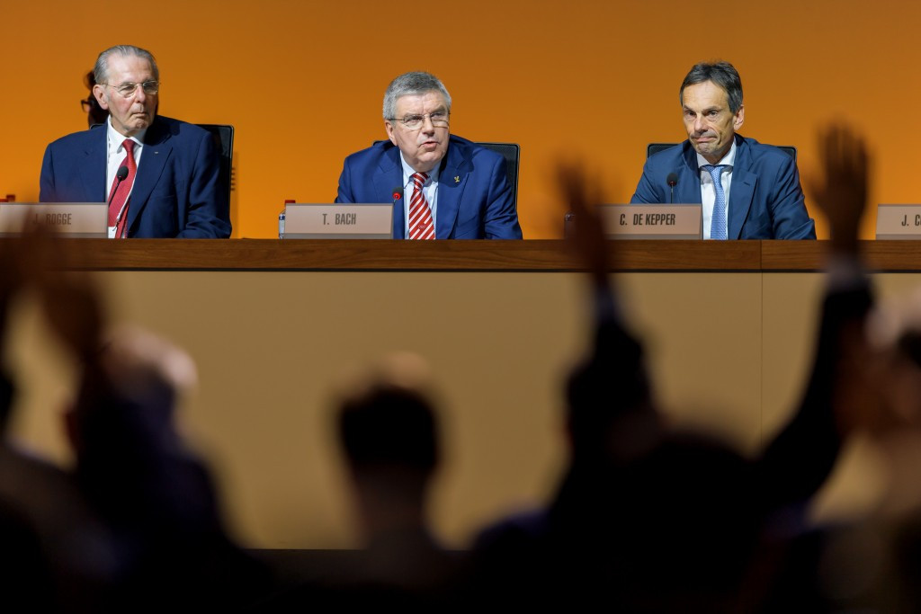IOC President Thomas Bach, centre, chaired the IOC Session ©Getty Images