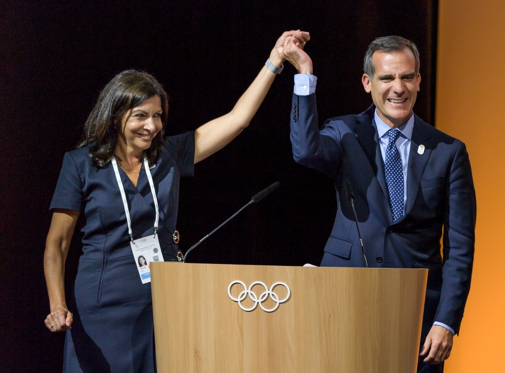 Respective Paris and Los Angeles Mayors Anne Hidalgo and Eric Garcetti both had something to celebrate in Lausanne this week ©Getty Images