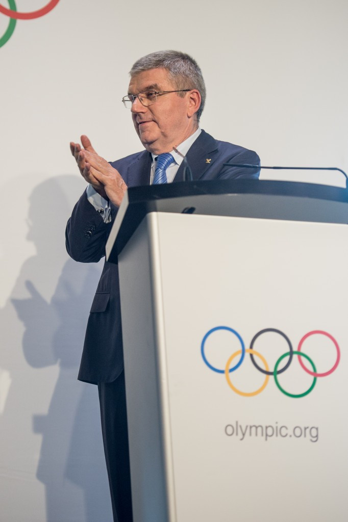 Thomas Bach oversaw the joint awarding of the 2024 and 2028 Olympic Games ©Getty Images