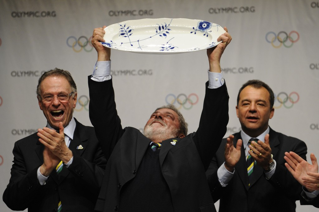 Luiz Inacio Lula da Silva, centre, celebrates Rio's victory alongside Carlos Nuzman, left, and Sergio Cabral, the former State Governor who was jailed for corruption last year ©Getty Images
