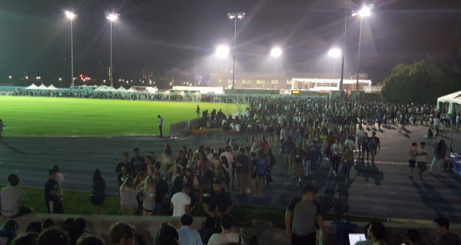 Students gathered in Drake Stadium after the UCLA evacuation ©Twitter