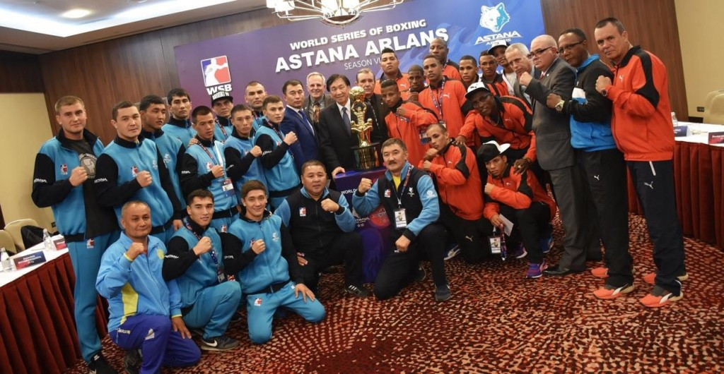 Astana Arlans Kazakhstan and Cuba Domadores weigh-in for World Series of Boxing final