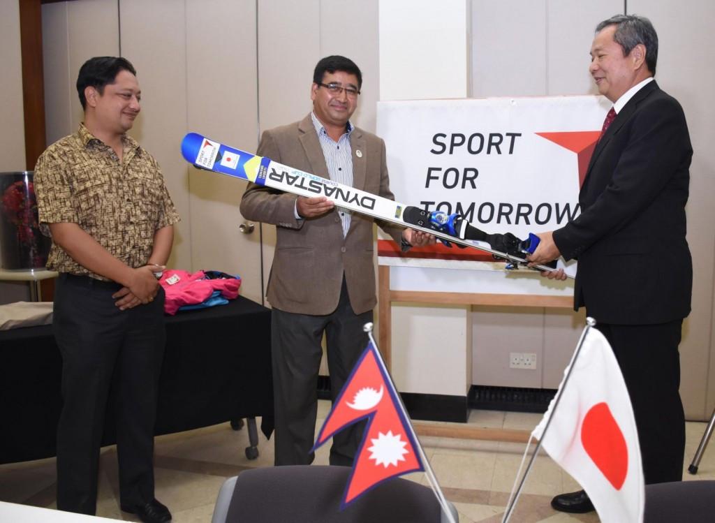 Skiing equipment donated to Nepal Olympic Committee