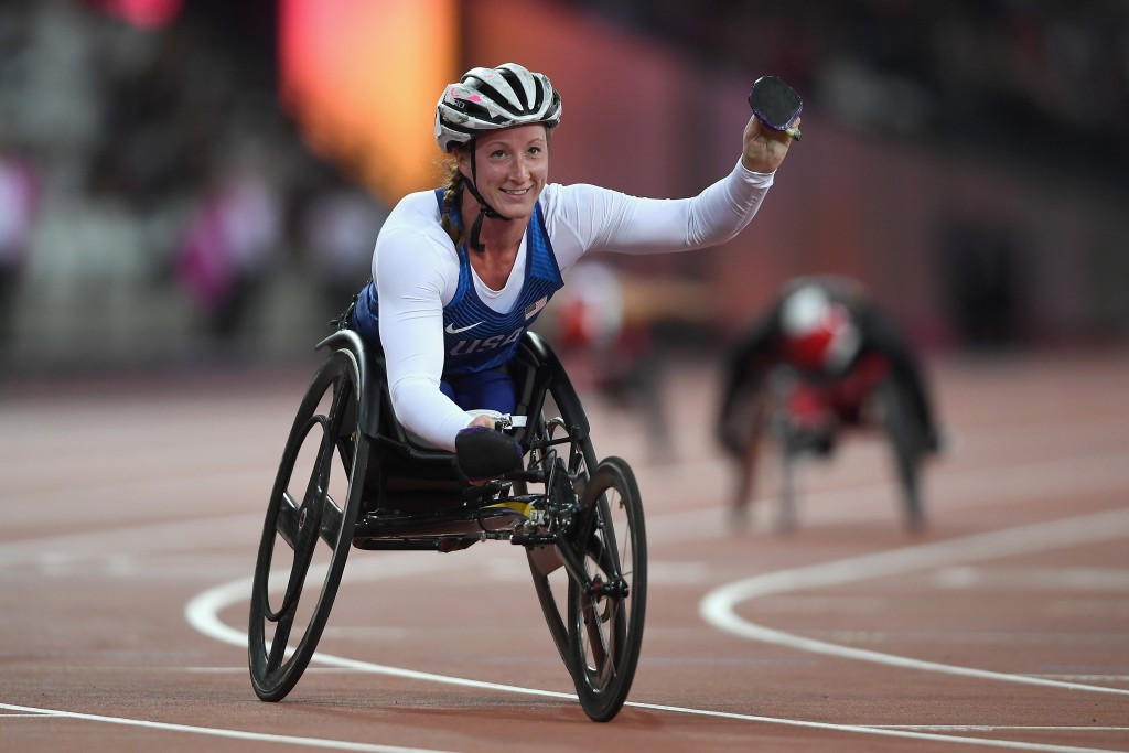 The United States' Tatyana McFadden took top honours in the women's 200m T54 ©Getty Images