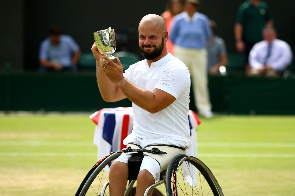Sweden's Stefan Olsson claimed his first Grand Slam title today after beating second seed Gustavo Fernandez of Argentina in the men's singles wheelchair tennis final at Wimbledon ©Getty Images