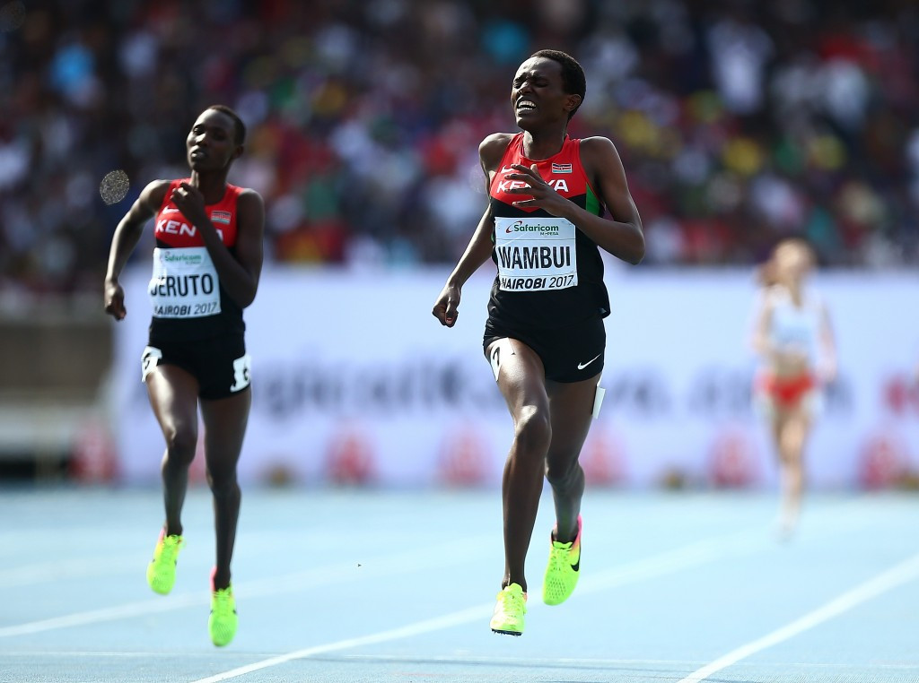 Jackline Wambui won the women's 800m gold in front of a capacity crowd ©Getty Images