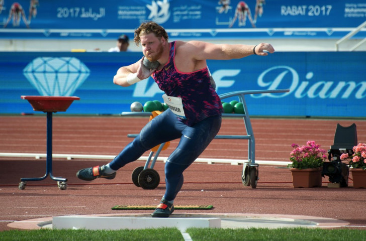 Olympic shot put champion Ryan Crouser of the United States earned his 10th straight win in Rabat, reaching a meeting record of 22.47m ©Getty Images