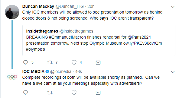 The IOC posted a hastily deleted tweet countering our criticisms of the lack of transparency. A similar tweet was posted soon after from the account of Presidential spokesman Mark Adams ©Twitter