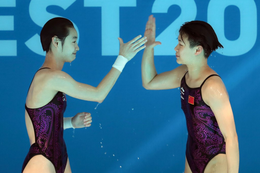 Chang Yani and Shi Tingmao teamed up to win the women's synchronised 3m springboard event ©Getty Images