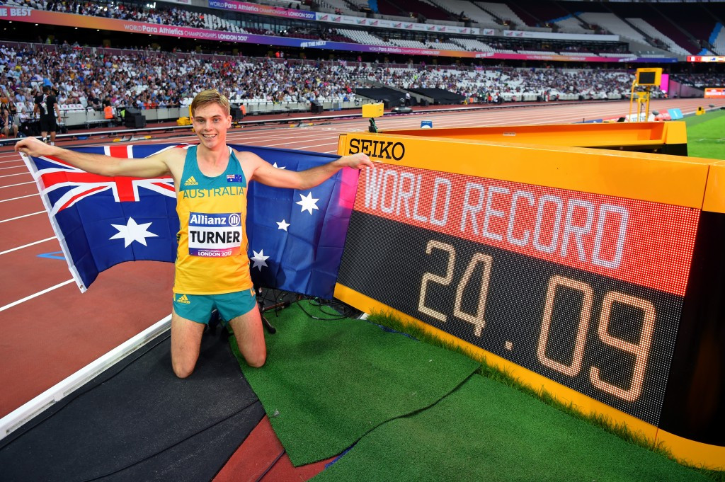 Australia's James Turner broke the men's 200m T36 world record for the second time in as many days ©Getty Images