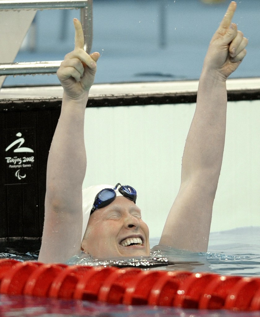 Chelsey Gotell, pictured after winning gold at Beijing 2008, believes the Games could be a catalyst for the growth of Paralympic sport in Canada ©Getty Images