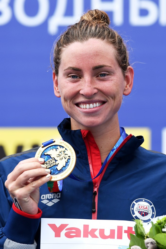 The United States' Haley Anderson won the women's five kilometres race to claim the first gold medal of FINA World Championships in Kazan ©Getty Images